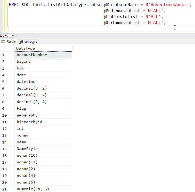 SDU Tools: Listing all the Data Types Used in a SQL Server Database