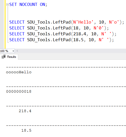 SDU Tools: LeftPad and RightPad in T-SQL (Right-align, Left-align)
