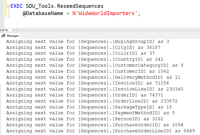SDU Tools: Reseed Sequences in T-SQL - The Bit Bucket
