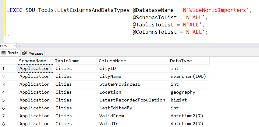 SDU Tools: List all columns and data types in a SQL Server database