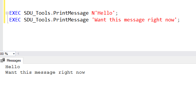 SDU Tools: Print message without delay in T-SQL
