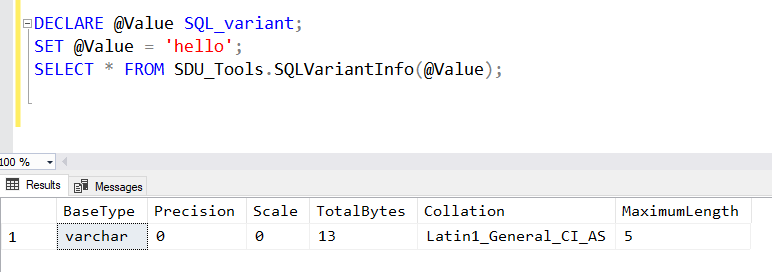 SDU Tools: SQL Variant Info for T-SQL - The Bit Bucket