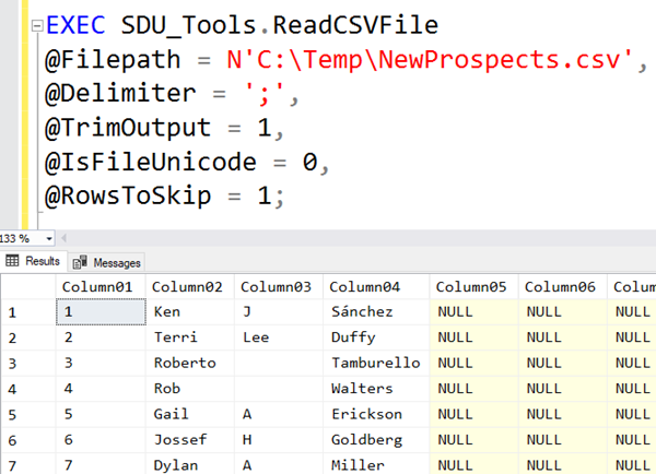 SDU Tools: Read CSV File in T-SQL