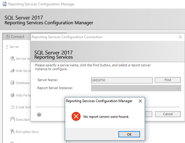 SQL: No report servers were found: what's in a name?