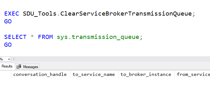 SDU Tools: Clear Service Broker Transmission Queue in T-SQL