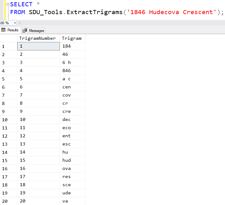 SDU Tools: Extract trigrams from strings in T-SQL