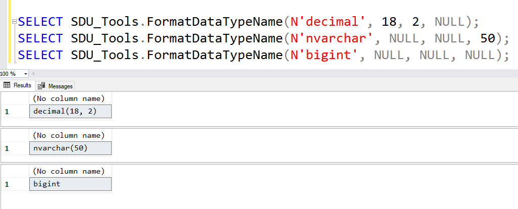 SDU Tools: Format Datatype Name in T-SQL - The Bit Bucket