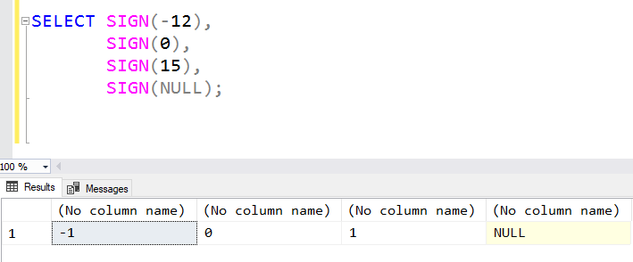 SQL: The T-SQL SIGN function and what's in a return type?