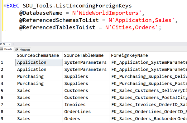 SDU Tools: List Incoming Foreign Keys in a SQL Server Database