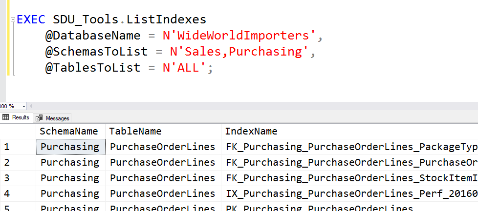 SDU Tools: List Indexes in a SQL Server Database