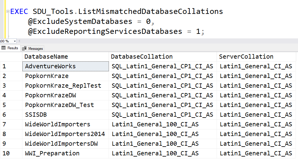 SDU Tools: List Mismatched Database Collations in SQL Server