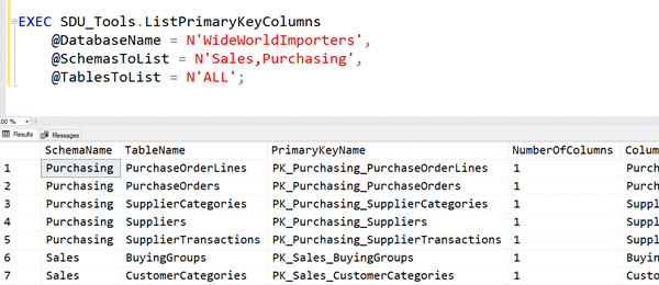 SDU Tools: List Primary Key Columns in a SQL Server Database