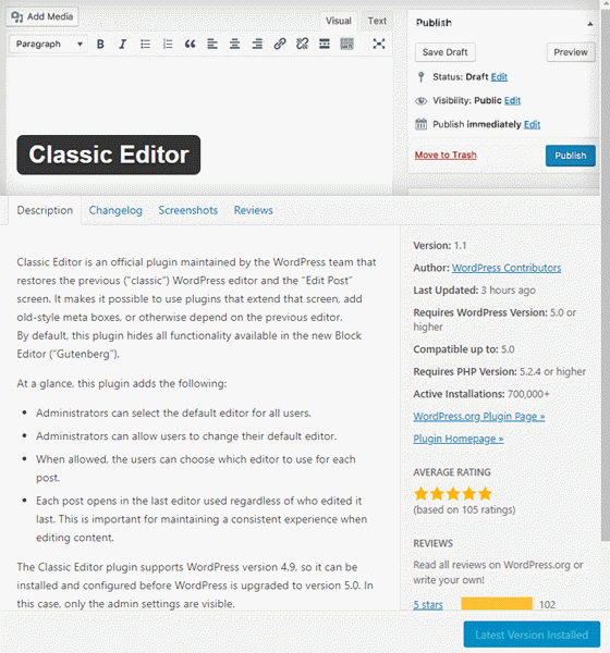 Using the classic editor in WordPress 5.0