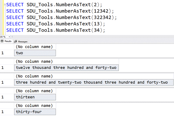 SDU Tools: Show a number as text in SQL Server