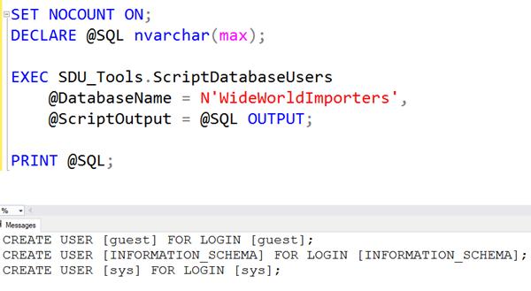 SDU Tools: Script SQL Server Database Users