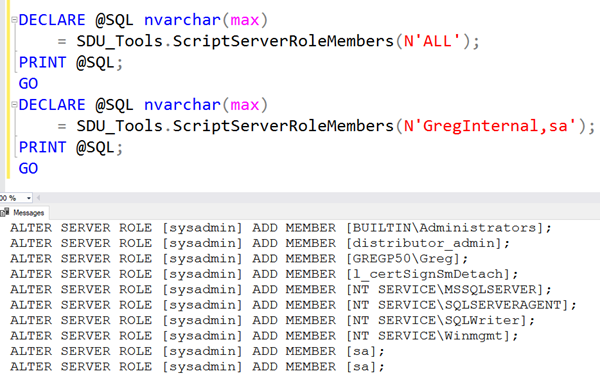 SDU Tools: Script Server Role members in SQL Server
