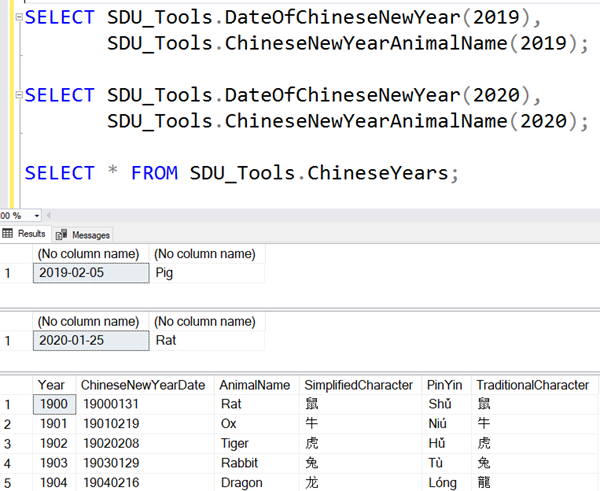 SDU Tools: T-SQL tools for working with Chinese Calendars and Years in SQL Server