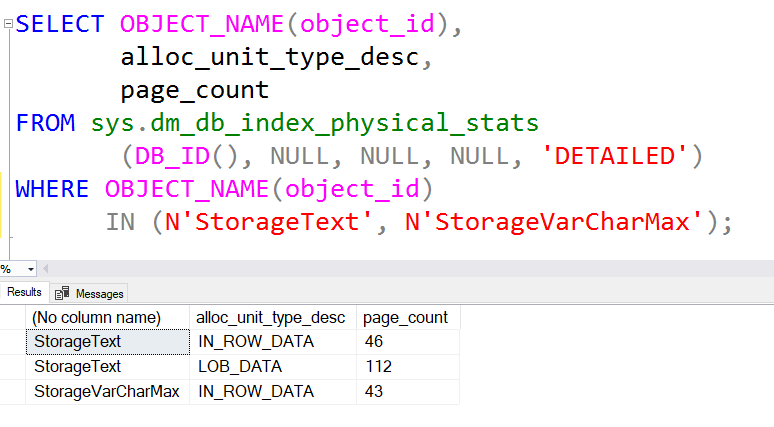 SQL: Text vs Varchar(max) – in row vs out of row storage