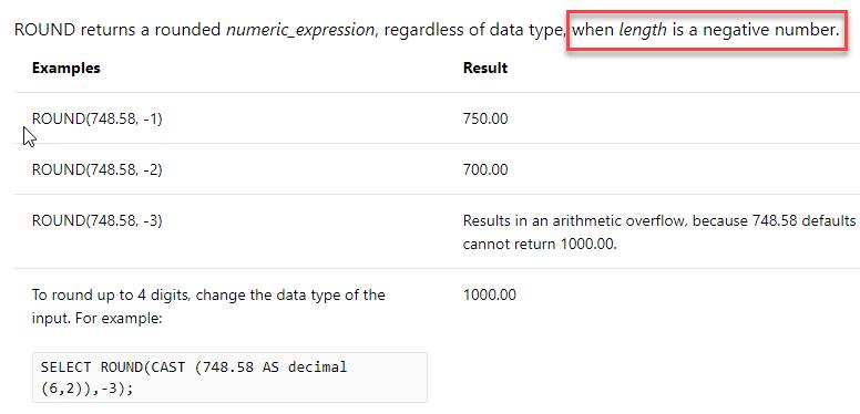 SQL: What's negative rounding in SQL Server T-SQL?
