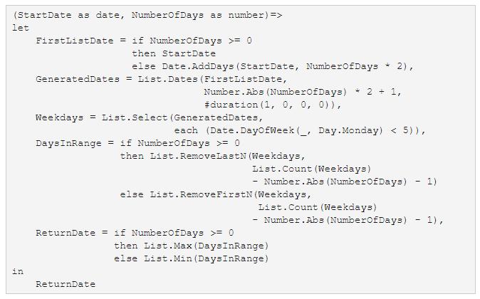Power BI: AddWeekdays function for Power Query M language
