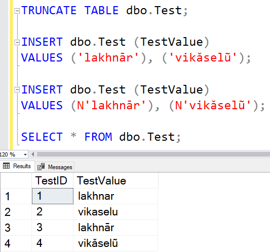 SQL: When inserting SQL Server data in other languages doesn't work as expected