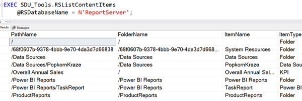 SDU Tools: List content items in the SQL Server Reporting Services catalog