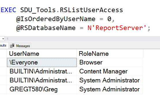 SDU Tools: List user access to Reporting Services
