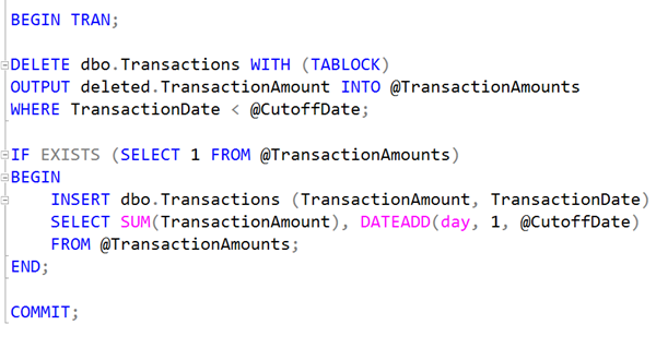 SQL: Rolling up or archiving transactions past a cutoff date in T-SQL