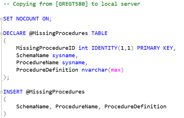 SQL: Create missing stored procedures using a linked server