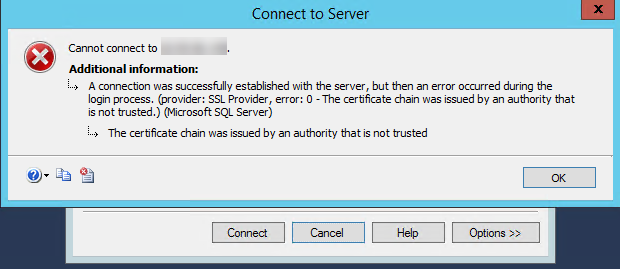 SQL: (SQL Server) The certificate chain was issued by an authority that is not trusted