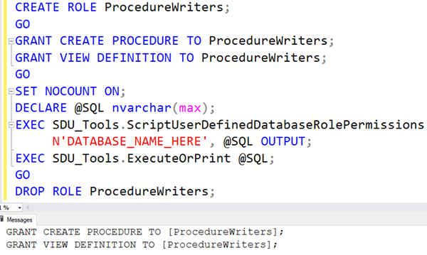 SDU Tools: Script User Defined Database Role Permissions in SQL Server