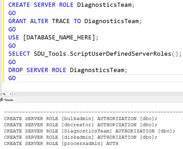 SDU Tools: Script User Defined Server Roles in SQL Server