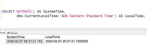 SQL: Getting local date and time in Azure SQL Database