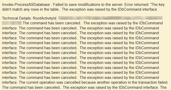 BI: (FIX) Failed to save modifications to the server. Error returned – The key didn't match any rows in the table