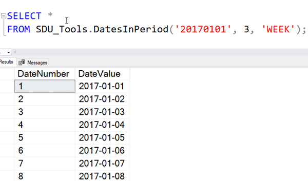 SDU Tools: Dates in a Period in SQL Server T-SQL