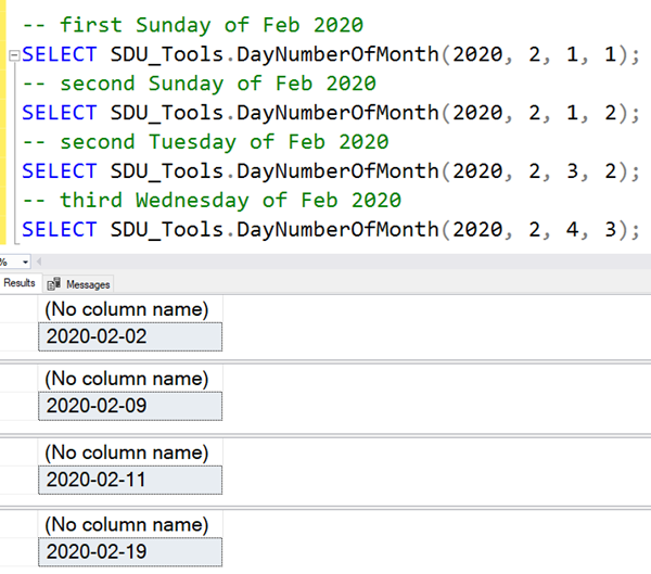 SDU Tools: Calculate day number in a month in SQL Server T-SQL