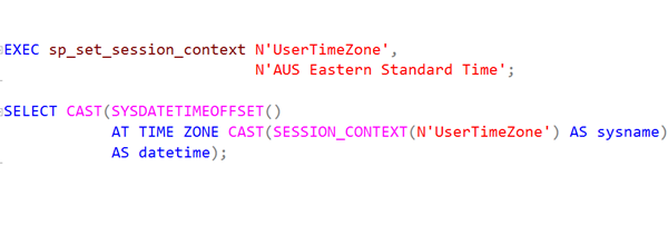 SQL: Setting local date and time for a session in Azure SQL Database