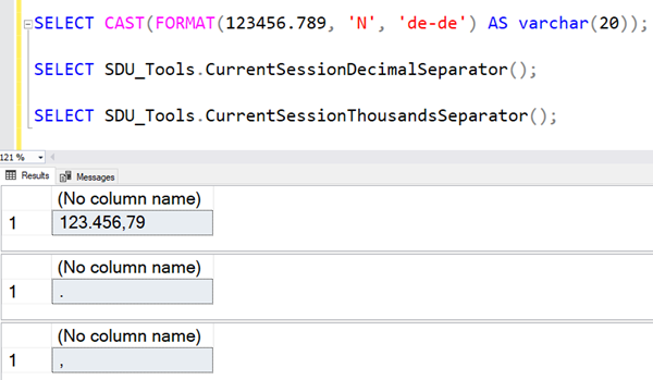SDU Tools: Finding the current session decimal separator in SQL Server T-SQL