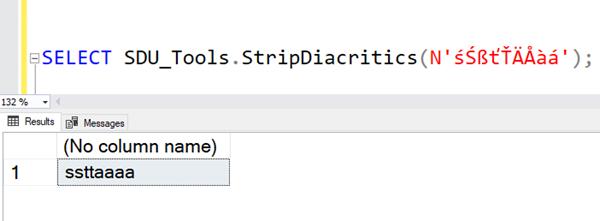 SDU Tools: Strip diacritics from strings in SQL Server T-SQL