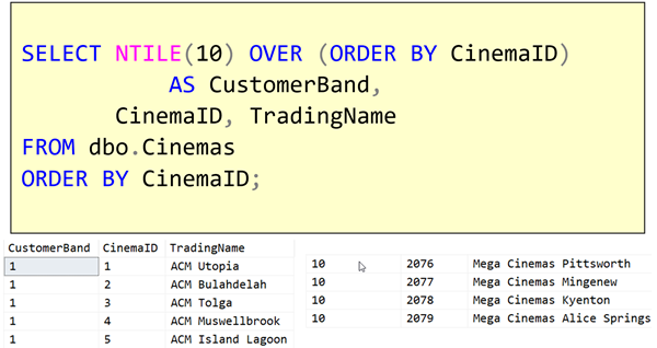 T-SQL 101: #92 Categorizing output rows by using NTILE
