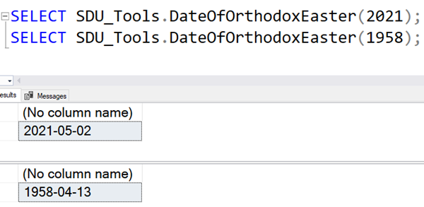 SDU Tools: Date of Orthodox Easter in SQL Server T-SQL