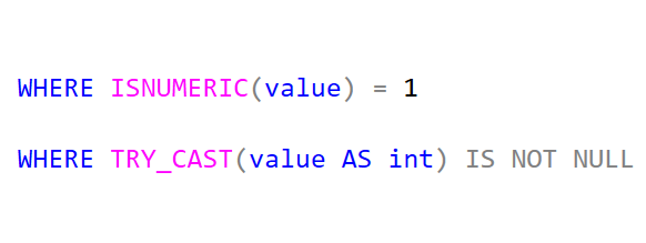 SQL: Use TRY_CAST instead of ISNUMERIC and ISDATE