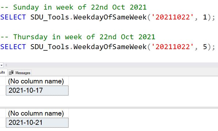SDU Tools: Weekday in same week using SQL Server T-SQL