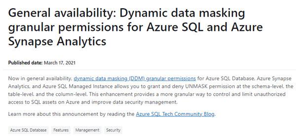 SQL: UNMASK is now granular in Azure SQL